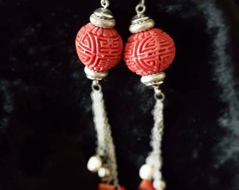 Genuine Chinese Vintage Cinnabar, Pearl and Coral Earrings