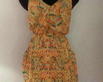 BoHo// Summer// Hipster// African// Tank// 1980's// Yellow// Orange// Pocket// Dress