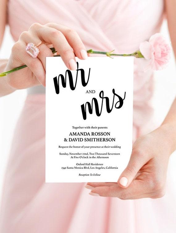 Mr. and Mrs. Modern Kraft Rustic Wedding - Brown Kraft Wedding Invitations -  Downloadable wedding invitations #WDH0060