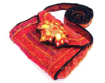Autumn Crochet Bag with Beaded Leaf