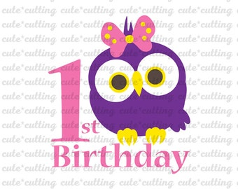 First Birthday svg, owl svg, owl party svg, one, 1st birthday svg,  dxf jpeg cutting files for Silhouette Cameo, Portrait, Curio, Cricut