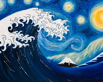 HOKUSAI on a STARRY NIGHT - Print From Original Oil Painting - Fine Art - Hokusai Great Wave - Van Gogh Starry Night  - Surreal