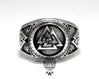 Valknut Viking Signet Ring, Viking ring,Viking jewelry,Sterling Silver 925 Black oxidize.