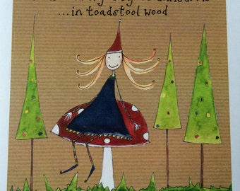 Fairy in toadstool wood Christmas card