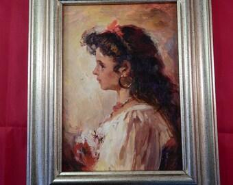 oil on board Portrait of girl