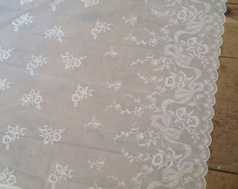 """Vintage Flocked Sheer Curtain panel. Antique sheer curtain. Flocked floral sheer Window curtain panel. 71 x 56"""".Champagne White Sheer."""
