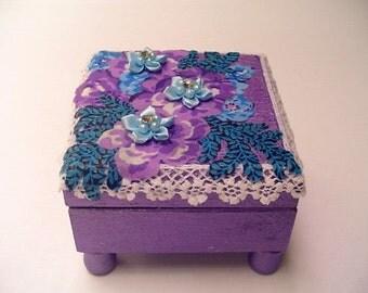 Little girls gift, bracelet box,  wood jewelry box, ring box,purple paint, floral fabric, satin beaded flowers, lace trim