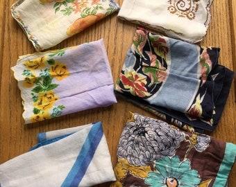 Vintage Cotton Floral Hankies Qty of 6 1940-1950's Era