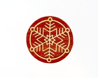 "Marquetry Snowflake ""Neve"" Pin - Brooch - Pentant made from Cedar and Maple Wood"