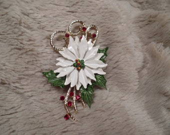 White Enameled Poinsettia Brooch with Red Rhinestones