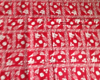 Red and White Table Cloth | Vintage Table Cloth | Grapes and Wine Patterned Table Cloth | Vera Neumann Style