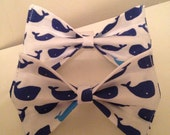 Blue Whales Dog Bow Tie in Medium or Large