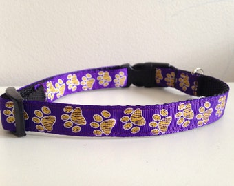 Purple With Gold Paw Prints LSU Tigers 5/8 inch Dog Collar
