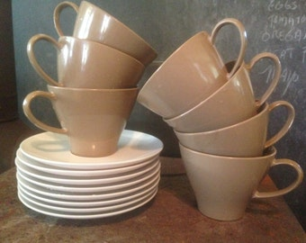 Roymac Melmac Coffee Tea Cups Saucers Set Eight 8 Royalon Cocoa Brown White Classic 1960s Vintage Kitchen Serving Ware