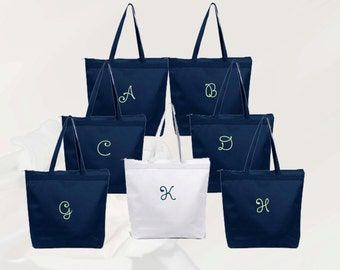 Personalized Zippered Tote Bag Bridesmaid Gift Set of 2- Wedding Party Gift- Bridal Party Gift- Initial Tote