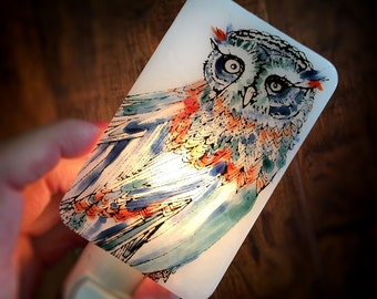 Owl Nightlight Hand Painted enamel on white Fused Glass - No. 7 - Happy Owl - night light - multicolored blue red green OOAK one-of-a-kind