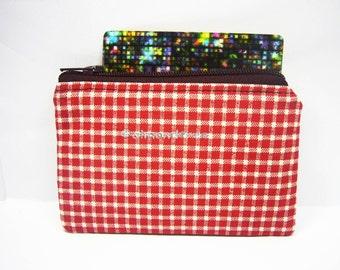 Red handmade purse, women wallet, credit card case, zipper coin purse, id1370611, portemonnaie, cardholder , small pouch, gift ideas
