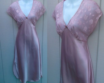 Vintage 80s does 30s Pink Bias Nightgown with Sheer Bodice / Slinky pinup poly satin gown // Size med
