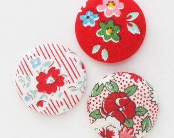 Fabric Covered Flat Back Buttons 1.25 Inch | 32mm Fabric Buttons for Textile Jewelry