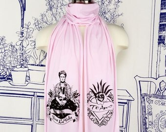 Frida Viva La Vida Screen printed Cotton Scarf