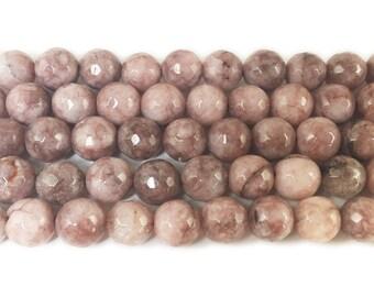 Redwood Brown Jade Faceted Gemstone Beads
