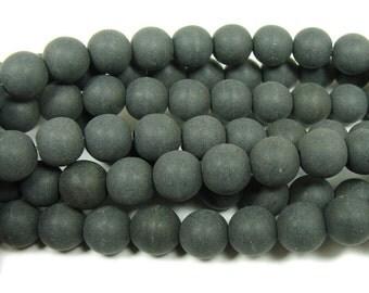 Black Howlite Matte Round Gemstone Beads