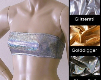 Strapless Bandeau Bikini Top in Gold, Silver, and Disco Ball Glitter Hologram S.M.L.XL.