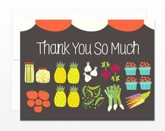 Farmer's Market Thank You Card, Thanks Greeting Card, Fruit and Vegetables Card, Wedding thank you card, Friend thanks, Mom card, for her