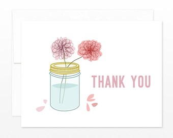 Mason Jar of Flowers Thank You Card - Floral Thanks, Thank You Greeting Card, Pretty Thanks Card, Thanks Friend, Thanks Coworker, Family
