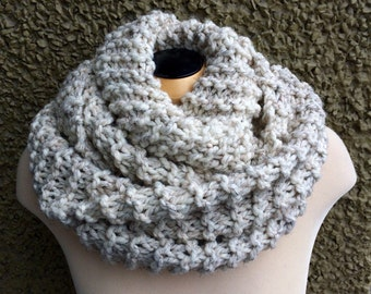 Outlander Inspired White Flecked Chunky Knit Cowl