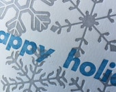 Letterpress snowflakes holiday card