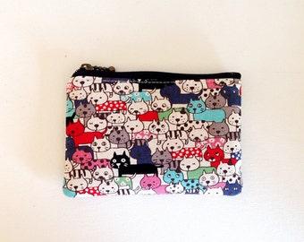 mini zipper pouch  - lot of cats in red