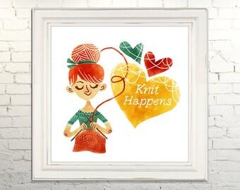 KNIT HAPPENS Printable Art print Instant Download jpg Digital Illustration Knitting Crotchet Crafting Yarn Heart Love Sewing Decor Poster