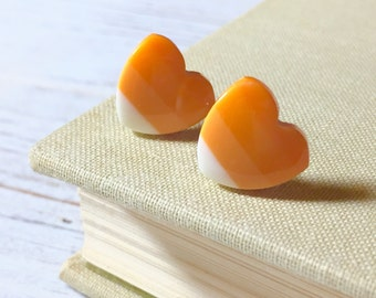 Candy Corn Earrings, Orange Yellow Heart Studs, Candy Corn Heart Studs, Halloween Studs, Fall Autumn Studs, Kawaii Kitschy Stud (SE2)