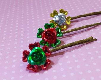 Christmas Hair Accessories, Holiday Flowers Hair Pins, Metallic Red Green Gold Silver, Festive Bobby Pins, KreatedbyKelly