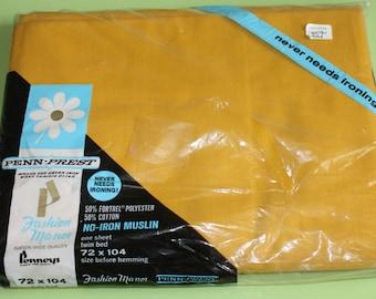 NOS twin flat sheet, NIP gold twin flat sheet, PennPrest gold twin sheet, Pennys gold sheet, vintage gold sheet, twin sheet, gold sheet