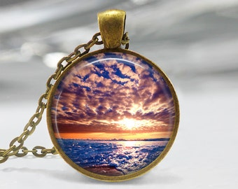 Sunset Pendant, Ocean Sunset Pendant, Sunrise Necklace, Sunrise Art Pendant, Bronze, Silver, Sunset Jewelry, Sunrise Art Pendant 308