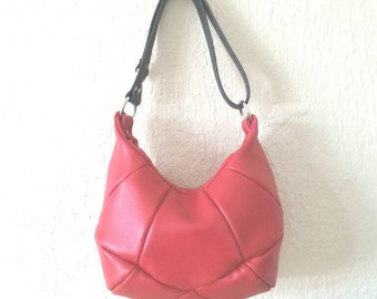 Geometric Red Leather Small Tote Shoulder Bag