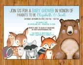 Woodland Baby Shower Invite Forest animals Invitation Fox Fawn Deer Racoon Owl Bear Gender Neutral DIY Printable 5x7 Digital JPG File (563)