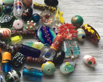 Glass bead lot, glass beads and charms, destash beads, large bead lot