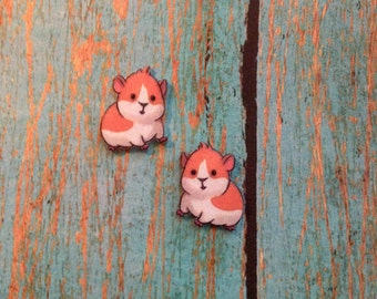 Handcrafted Plastic Whimsical Cute Guinea Pig Stud Earrings