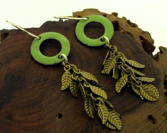 Leaf Earrings, green enamel with brass leaves by Kathryn Riechert