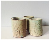 Four small cups ceramic pottery tumbler in green brown flowers - juice cup beaker tumbler for wine liquor - christmas presents foodie gifts