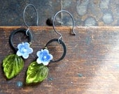Flower Earrings - vintage periwinkle and white vintage glass flower earrings with lime green leaves - botanical jewelry