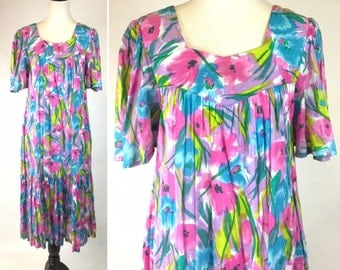 Vintage Pastel Floral Dress - Pink, Blue, Lilac Purple Flowers, Teal Green Chartreuse Leaves - Short Sleeves, Loose Fit Mumu, Ruffle Flounce