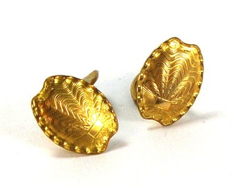 Antique Art Deco Cufflinks ENGRAVEABLE Gold Filled Guilloche Shell Motif Signed CIRCA 1920