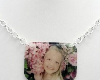 Custom photo lightweight resin pendant on link chain necklace Great keepsake memory charm
