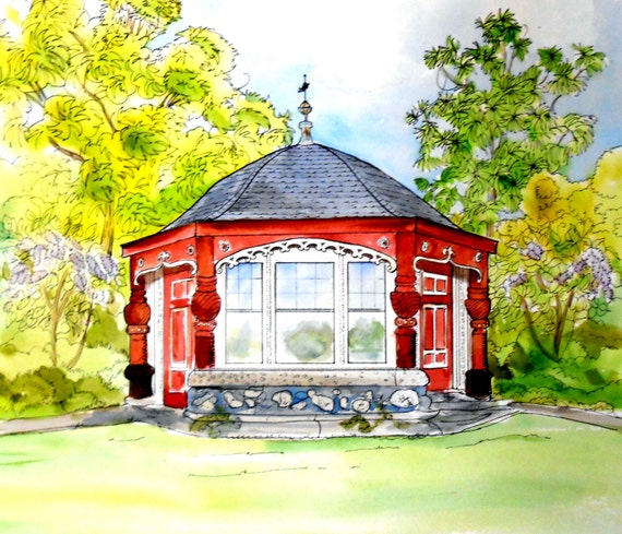 Wedding Gift for Couple, Wedding Venue Watercolor Painting of their church or venue like this one I painted of Moraine Farm Tea House