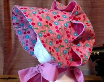 Girls Pink Button Bonnet, Size Small