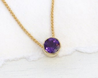 Amethyst Necklace in 18k Gold, February Birthstone, Fair Trade Stone, Handmade in the UK